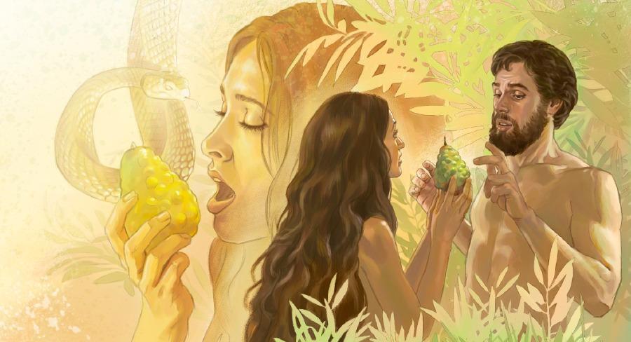 adan y eva comen el fruto prohibido imagen