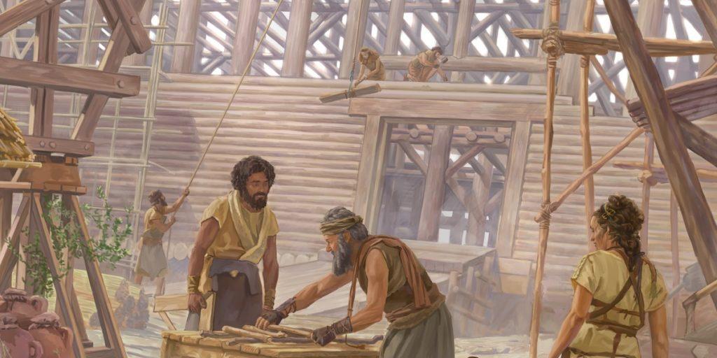 noe construyendo el arca imagen